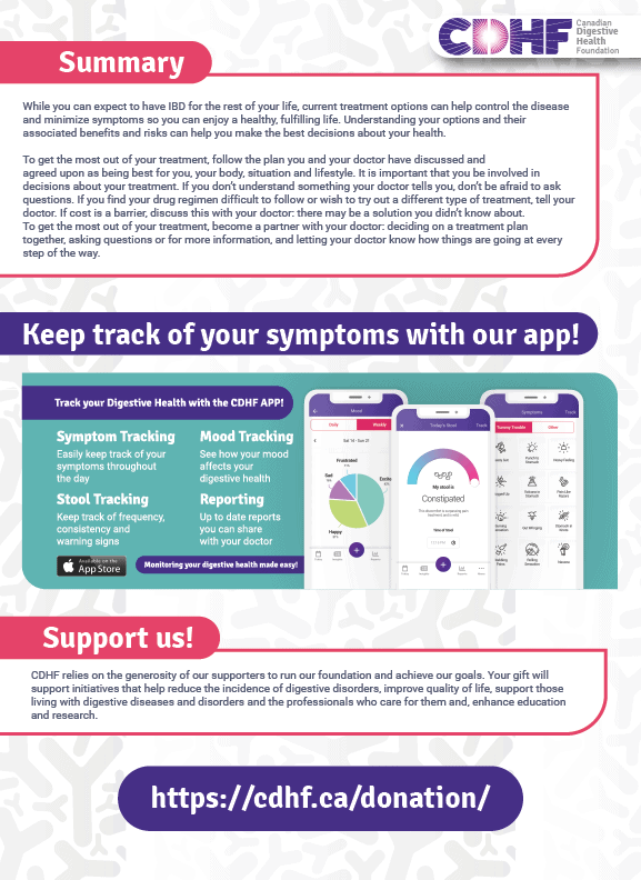 Infographic that summarizes: While you can expect to have IBD for the rest of your life, current treatment options can help control the disease and minimize symptoms so you can enjoy a healthy, fulfilling life. Understanding your options and their associated benefits and risks can help you make the best decisions about your health. To get the most out of your treatment, follow the plan you and your doctor have discussed and agreed upon as being best for you, your body, situation and lifestyle. It is important that you be involved in decisions about your treatment. If you don't understand something your doctor tells you, don't be afraid to ask questions. If you find your drug regimen difficult to follow or wish to try out a different type of treatment, tell your doctor. If cost is a barrier, discuss this with your doctor: there may be a solution you didn't know about. To get the most out of your treatment, become a partner with your doctor: deciding on a treatment plan together, asking questions or for more information, and letting your doctor know how things are going at every step of the way. Donate: CDHF relies on the generosity of our supporters to run our foundation and achieve our goals. Your gift will support initiatives that help reduce the incidence of digestive disorders, improve quality of life, support those living with digestive diseases and disorders and the professionals who care for them and, enhance education and research. https://cdhf.ca/donation/